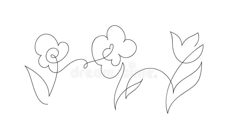 Flores continuas de un dibujo lineal Ejemplo blanco y negro del vector Concepto para la tarjeta del logotipo, bandera, cartel, av stock de ilustración