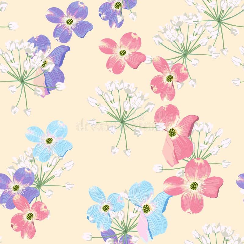 Flores cor-de-rosa azuis violetas do outono da mola com teste padrão sem emenda das ervas Fundo floral do estilo da aquarela para ilustração stock