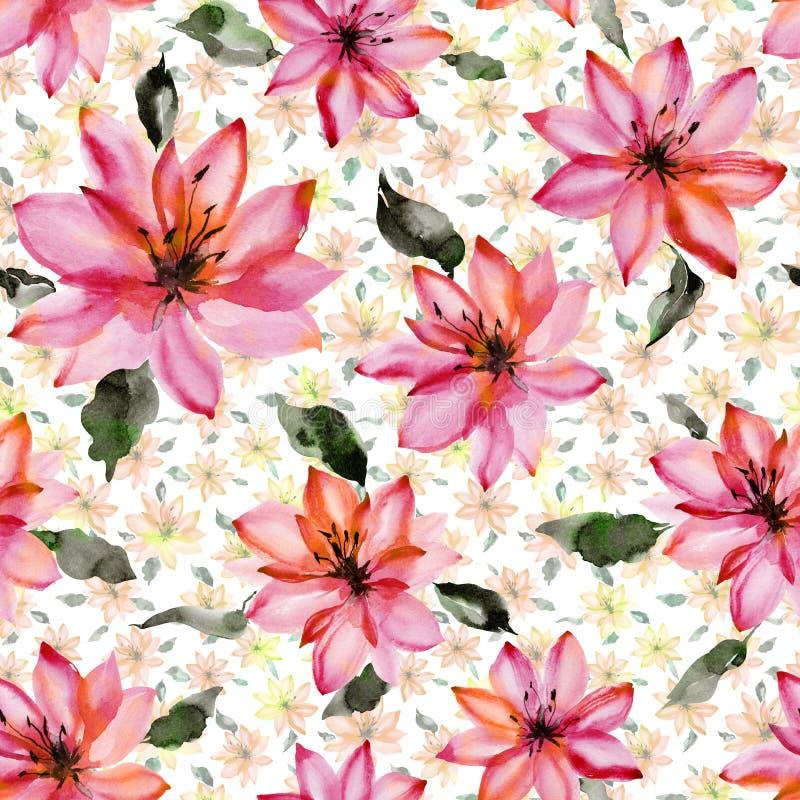 Flores cor-de-rosa bonitas com as folhas no fundo branco Teste padrão floral sem emenda Pintura da aguarela ilustração royalty free
