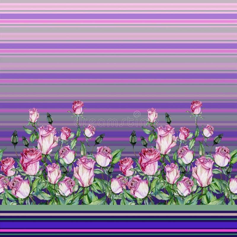 Flores cor-de-rosa bonitas com as folhas verdes em fundo listrado Teste padrão floral sem emenda, beira Pintura da aguarela ilustração stock