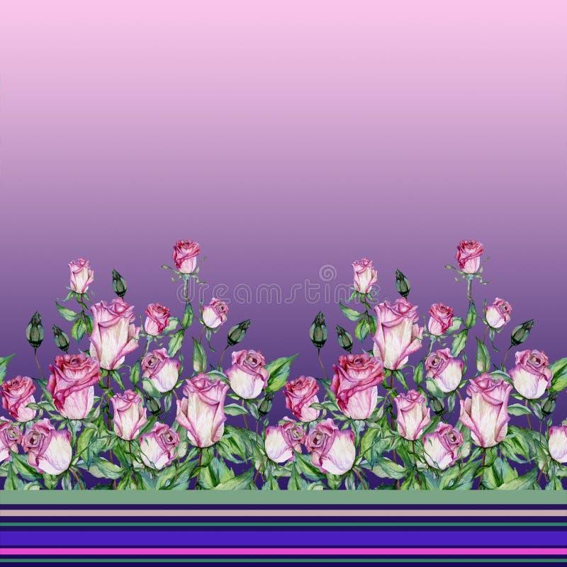 Flores cor-de-rosa bonitas com as folhas verdes no fundo do inclinação Teste padrão floral sem emenda, beira Pintura da aguarela ilustração do vetor