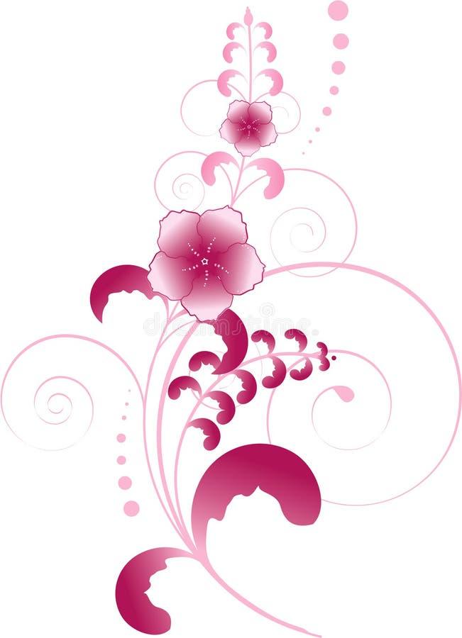 Flores cor-de-rosa com redemoinhos e folhas ilustração stock