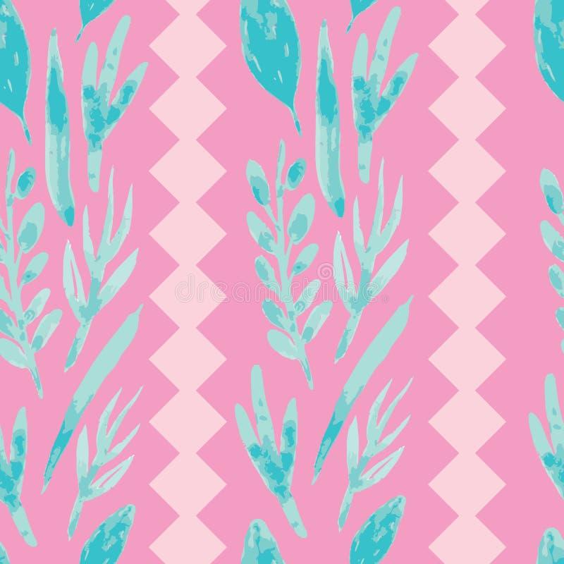 Flores cor-de-rosa da aquarela na repeti??o seameless do fundo f?csia ilustração do vetor