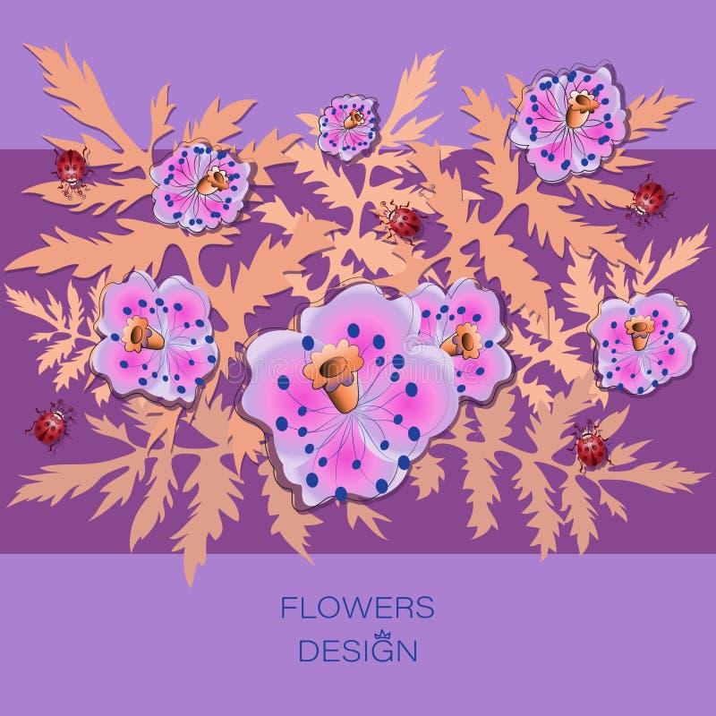 Flores cor-de-rosa da papoila Projeto das flores ilustração royalty free