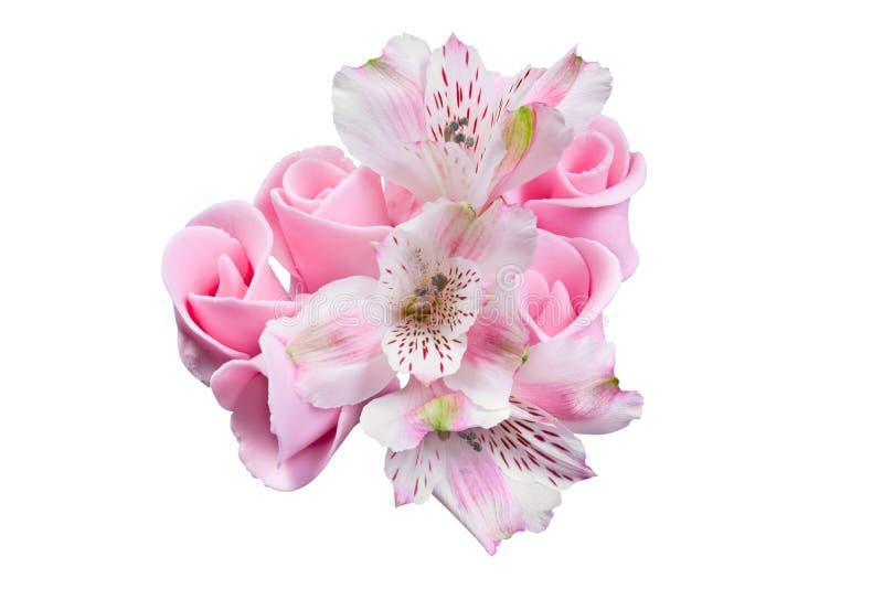 Flores cor-de-rosa, decoração cristalizada para o bolo foto de stock