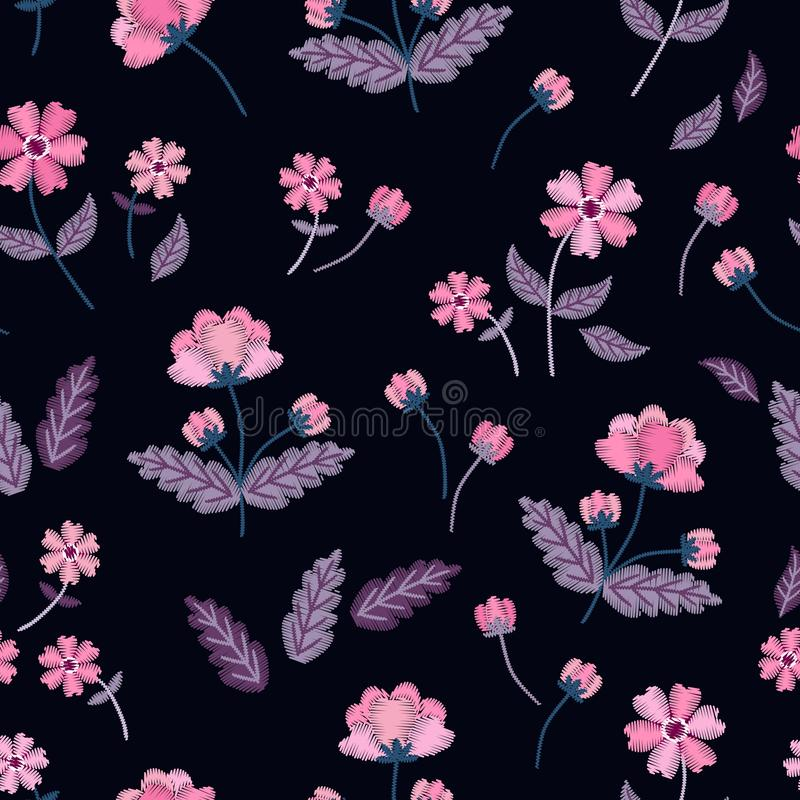 Flores cor-de-rosa do vintage no vetor Teste padrão sem emenda com bordado Ilustração floral bonita no fundo preto ilustração stock