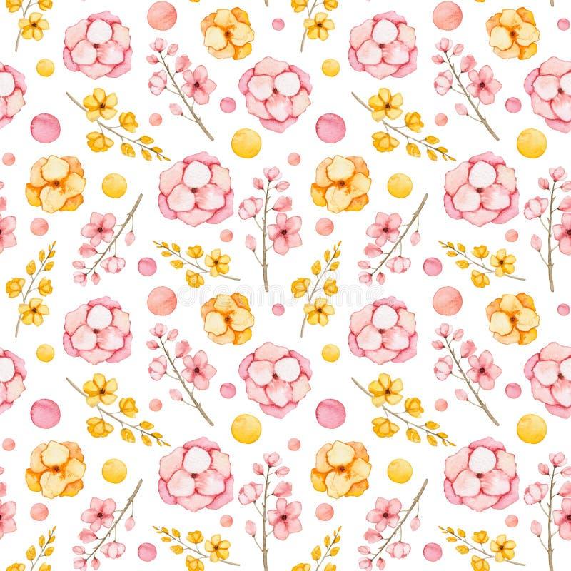 Flores cor-de-rosa e amarelas da aquarela e teste padrão sem emenda dos ramos ilustração stock