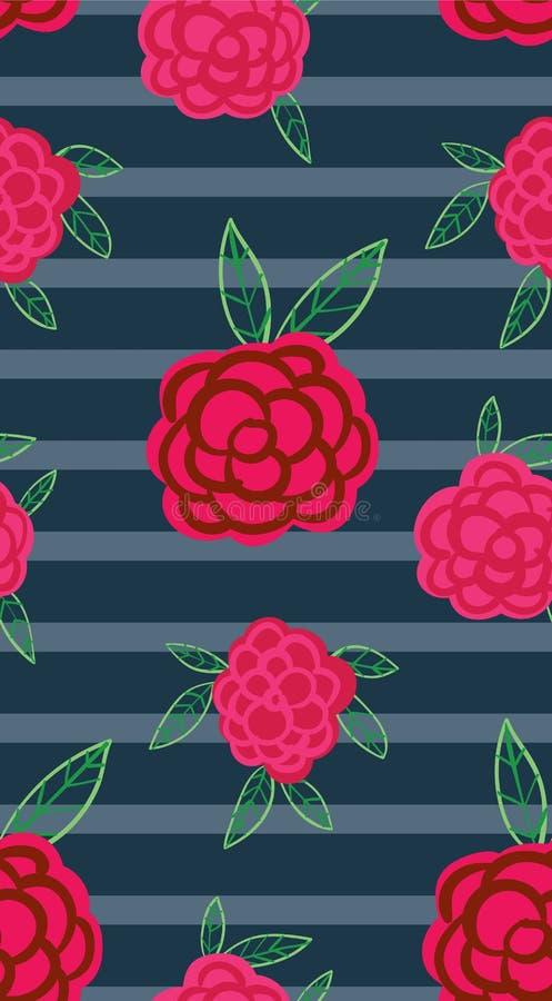 Flores cor-de-rosa em um fundo listrado ilustração stock