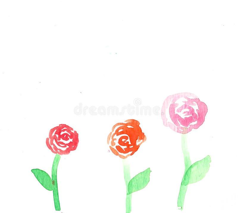 Flores cor-de-rosa feitos a mão da aquarela fotos de stock royalty free