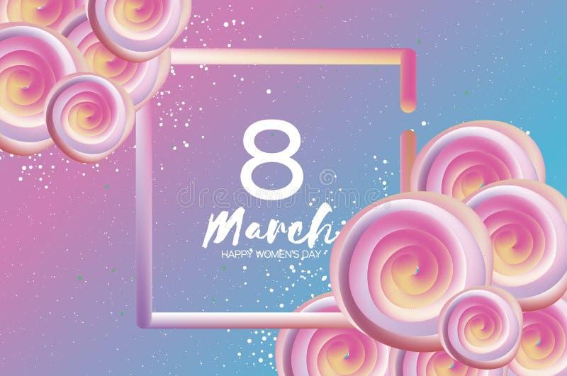 Flores cor-de-rosa líquidas brilhantes O 8 de março roxo Dia feliz do ` s das mulheres Dia do `s da matriz texto Quadro 3d quadra ilustração stock