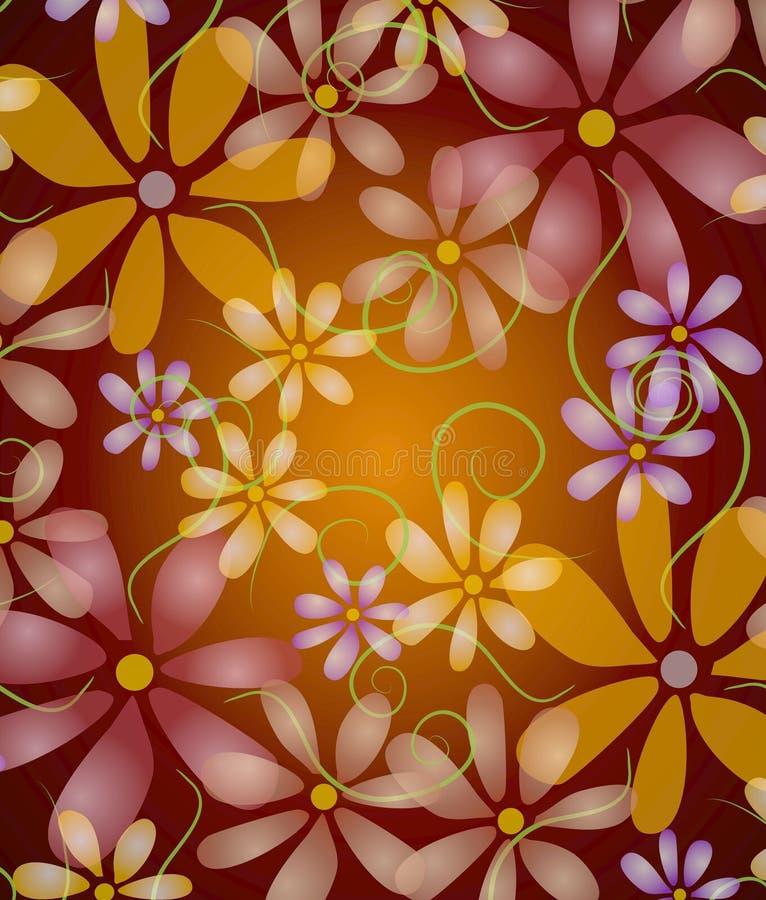 Flores cor-de-rosa no roxo da videira ilustração do vetor