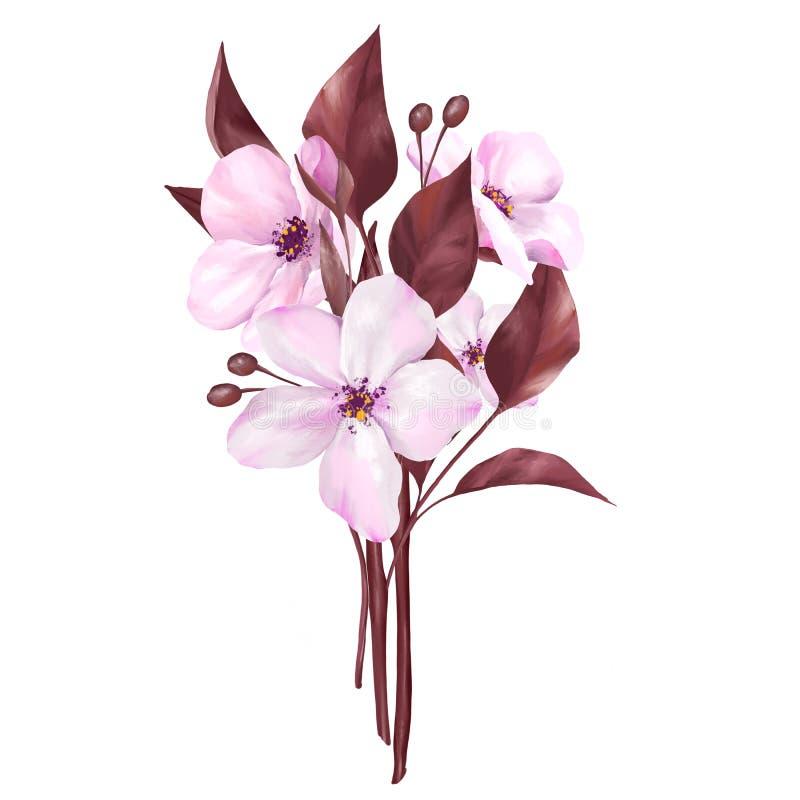Flores cor-de-rosa Ramalhete 1 ilustração stock