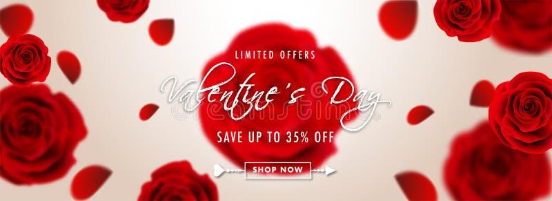 Flores cor-de-rosa realísticas no fundo lustroso para Valentine Day ilustração royalty free