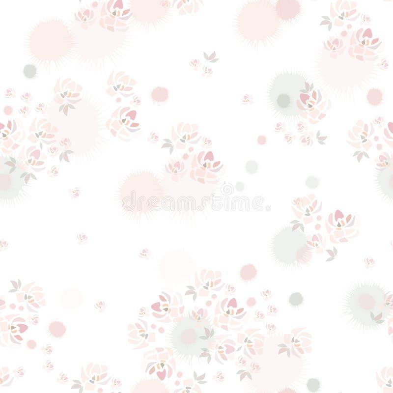 Flores cor-de-rosa tiradas mão das rosas no fundo branco como a pintura da aquarela ilustração royalty free