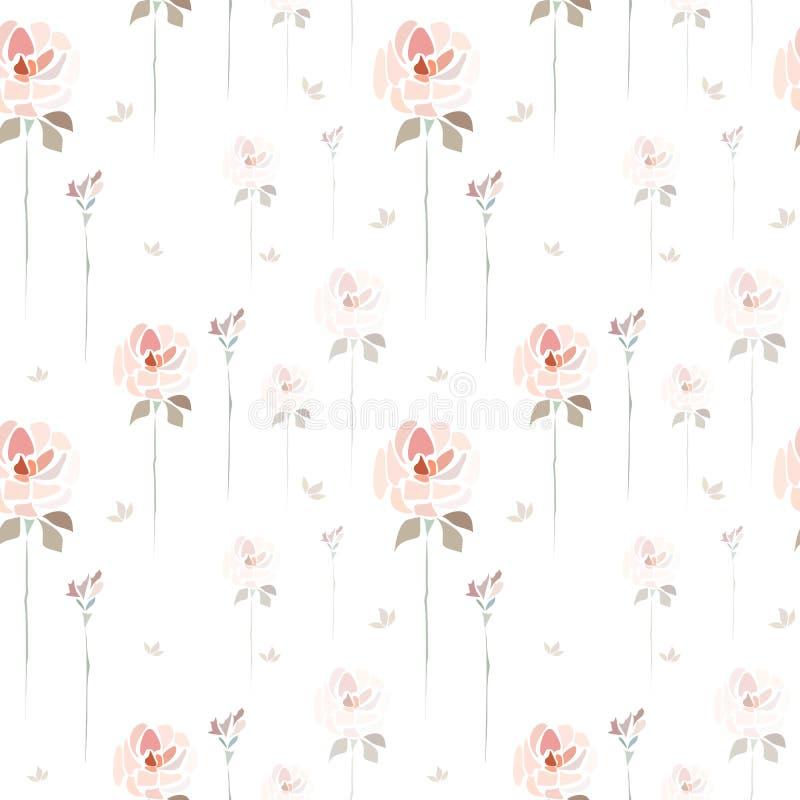 Flores cor-de-rosa tiradas m?o das rosas no fundo branco como a pintura da aquarela ilustração stock