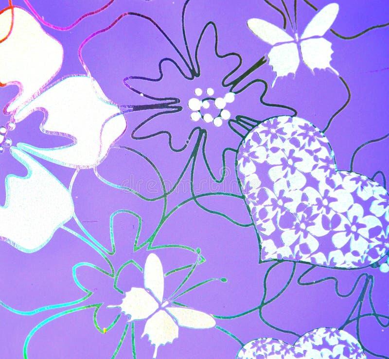 Flores, corações, borboleta sobre o fundo roxo hologram imagem de stock