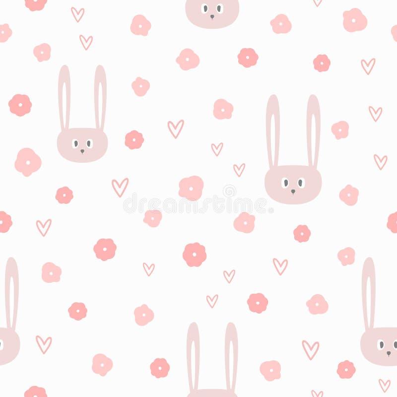 Flores, corações e cabeças repetidos de coelhos engraçados Teste padrão sem emenda bonito para meninas ilustração stock
