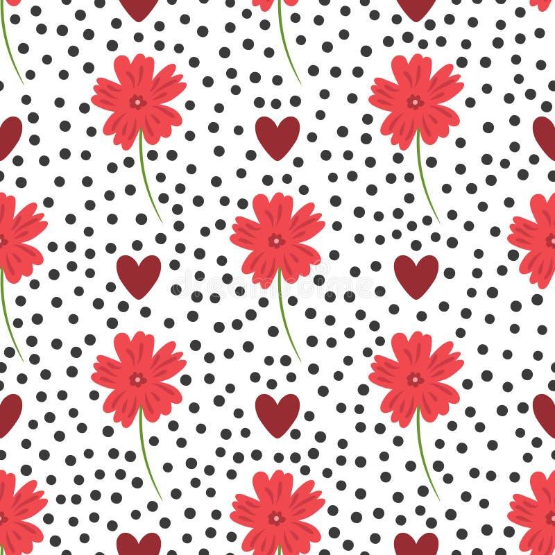 Flores, Corazones Y Puntos Redondos Modelo Inconsútil Floral ...