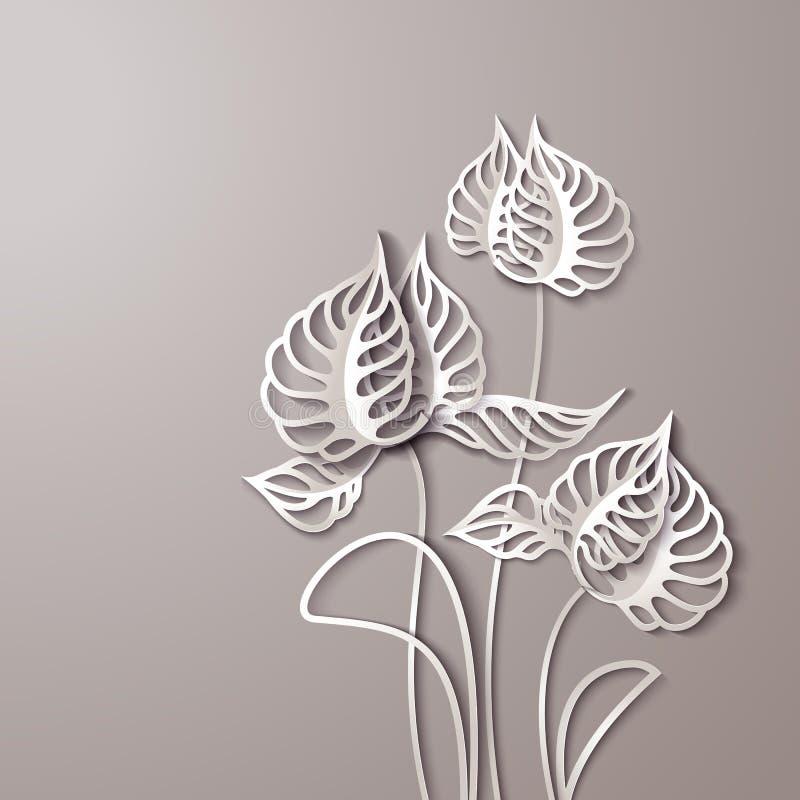 Flores 3D de papel abstratas ilustração do vetor