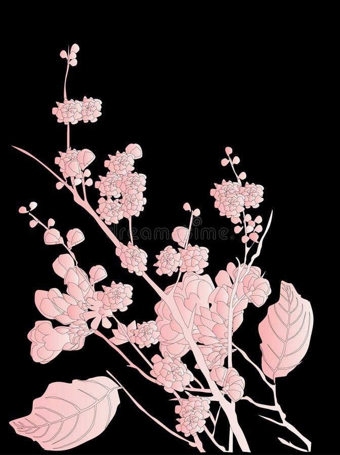 Flores da árvore de cereja no preto ilustração do vetor
