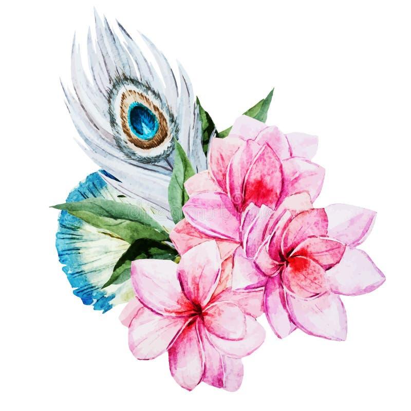 Flores da aguarela ilustração royalty free
