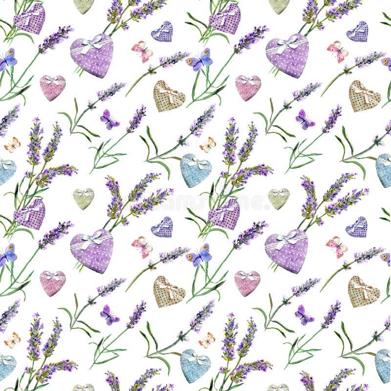 Flores da alfazema, corações, borboletas Teste padrão sem emenda watercolor ilustração do vetor