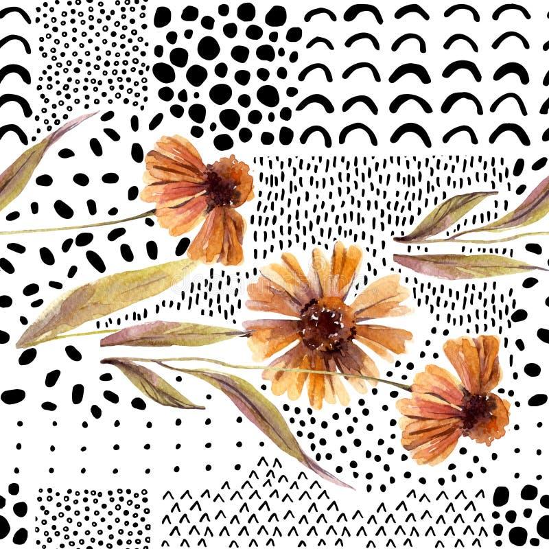 Flores da aquarela do outono no fundo da garatuja ilustração royalty free