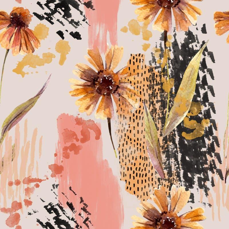 Flores da aquarela, folhas, garranchos, cursos ásperos da escova, fundo das texturas ilustração stock