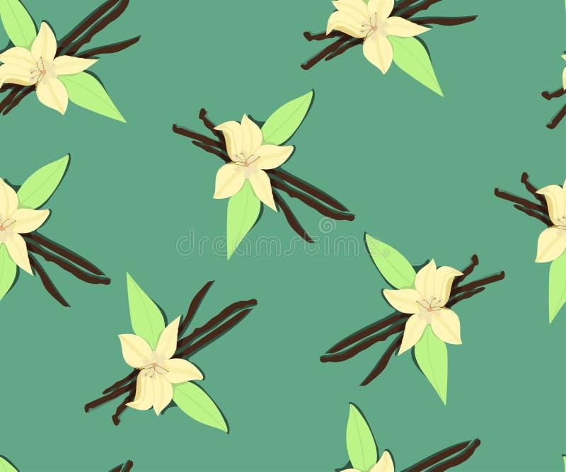 Flores da baunilha, teste padrão sem emenda imagem de stock