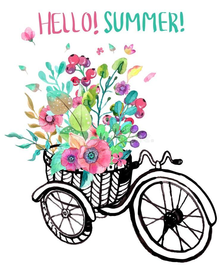 Flores da bicicleta e da aquarela ilustração stock
