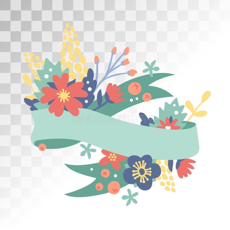 Flores da decoração de Valentine Day do vintage ilustração do vetor