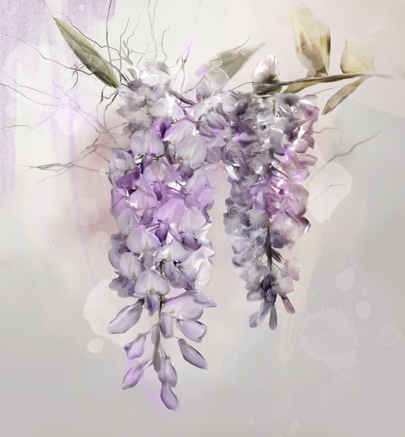 Flores da glicínia em um fundo do vintage ilustração stock
