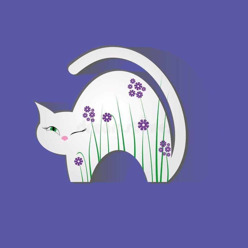 Flores da ilustração da natureza animal do gato ilustração stock
