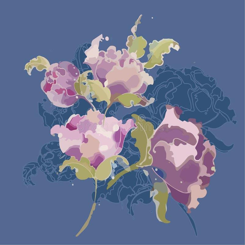 Flores da ilustração, ramalhete de peônias cor-de-rosa e roxas em uma obscuridade - textura azul do fundo ilustração stock