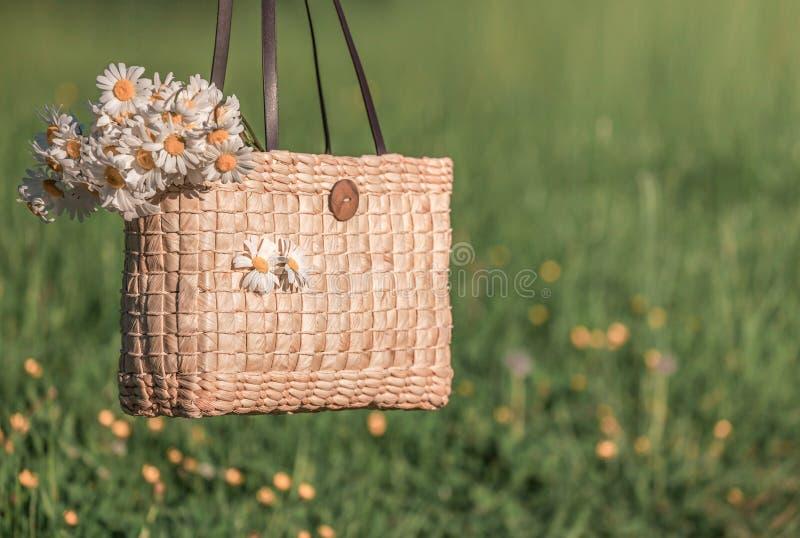 Flores da margarida no saco de madeira fotografia de stock royalty free
