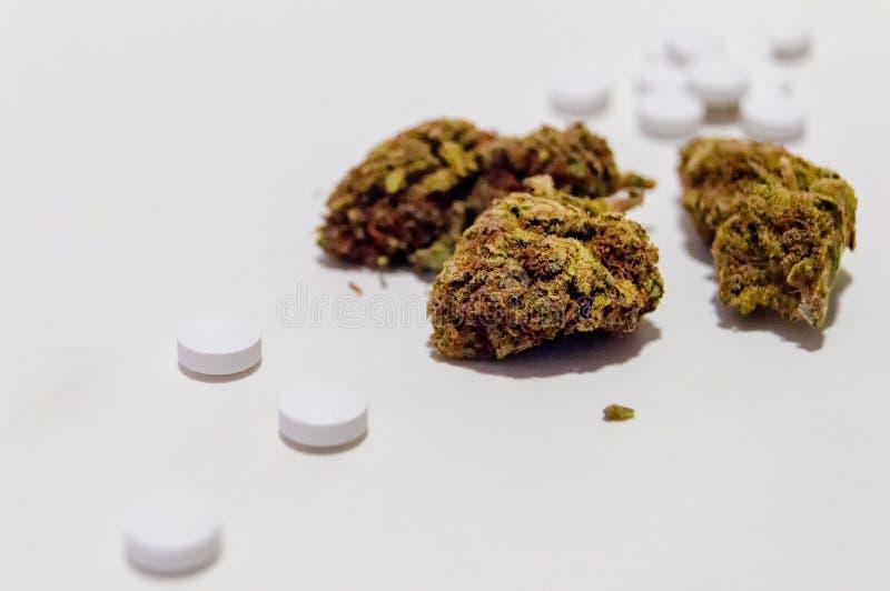 Flores da marijuana do cannabis e opiáceo dos comprimidos de dor da prescrição narcótico Medicina alternativa fotos de stock royalty free