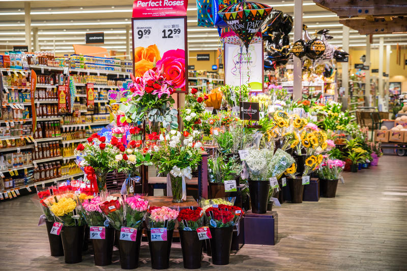 Flores da mercearia fotos de stock