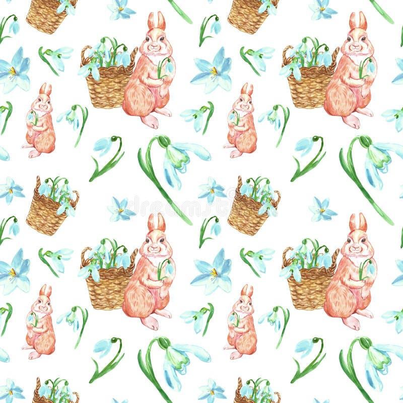 Flores da mola da aquarela e teste padrão sem emenda do coelho bonito Fundo da Páscoa com snowdrops e animal do bebê dos desenhos ilustração royalty free