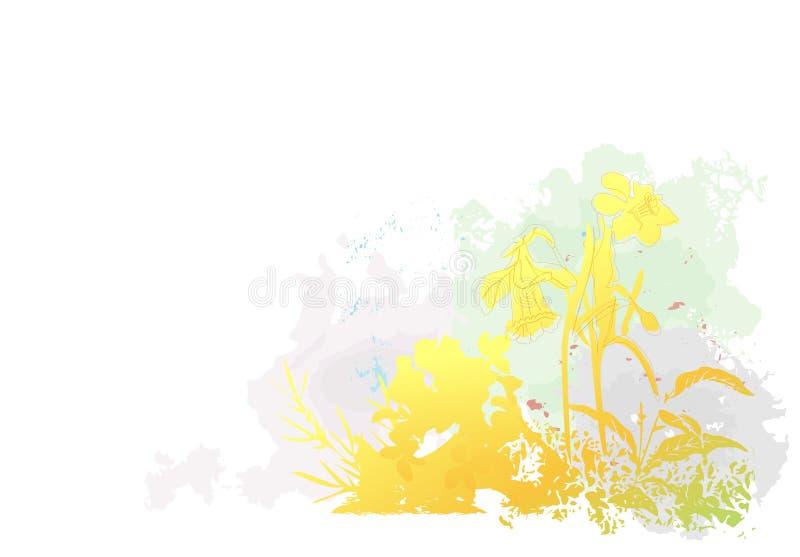Flores da mola de Grunge ilustração do vetor