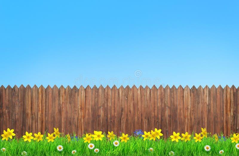 Flores da mola e cerca de madeira do jardim ilustração do vetor