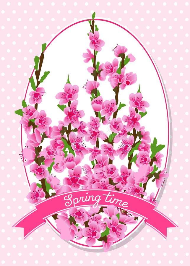 Flores da mola em ramos do pêssego na etiqueta Flores cor-de-rosa ilustração stock