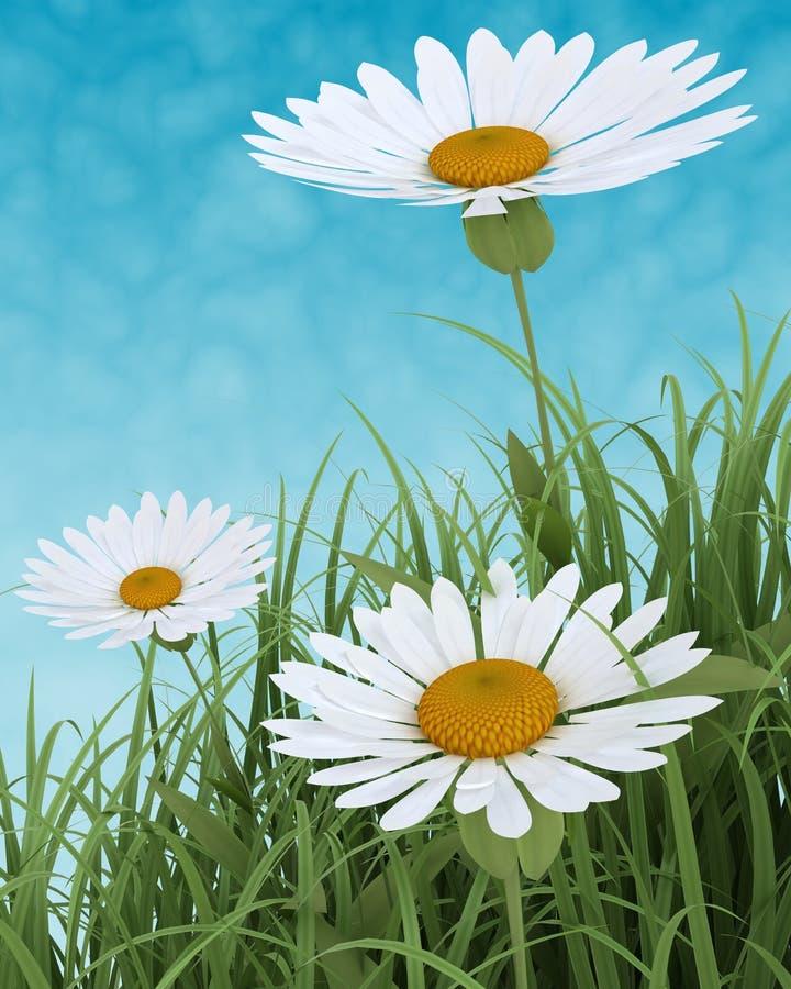 Flores da mola na grama no céu azul ilustração do vetor