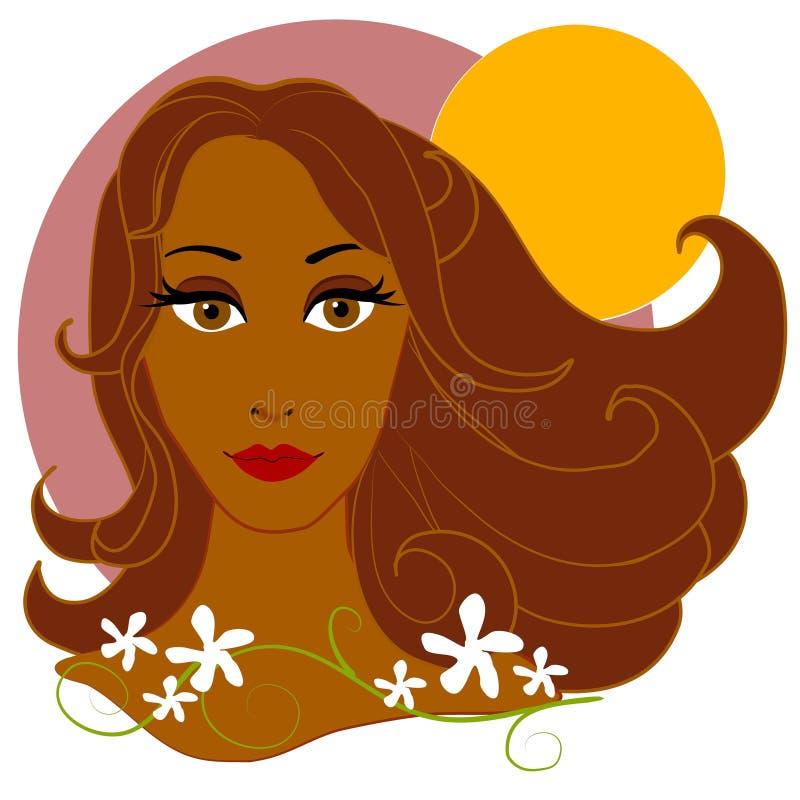 Flores da mulher e Sun 2 ilustração stock