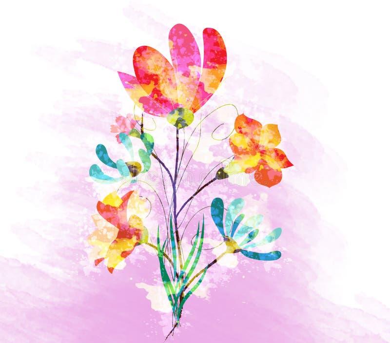 Flores da papoila, fundo da aquarela ilustração do vetor