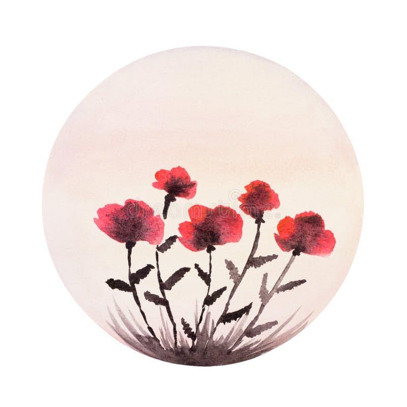 Flores da papoila, pintadas na aquarela Composição redonda ilustração stock