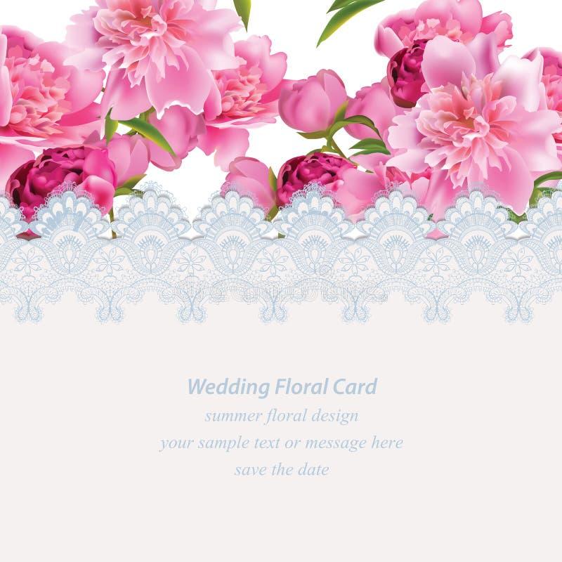 Flores da peônia e cartão delicado do laço Ilustração natural fresca do vetor da composição da primavera ilustração stock