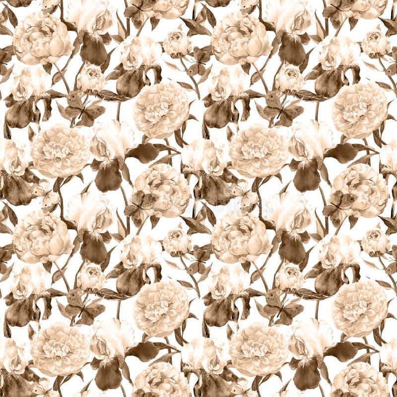 Flores da peônia, flor da íris e borboletas no estilo marrom velho Fundo sem emenda do vintage Teste padrão floral watercolor fotografia de stock royalty free