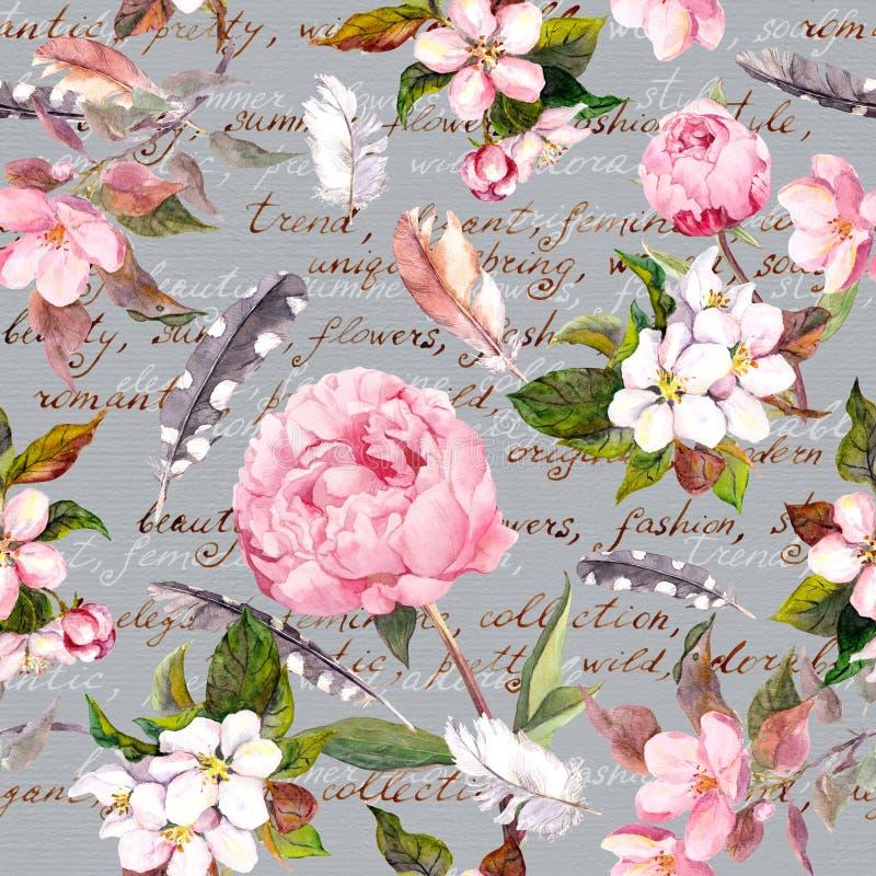 Flores da peônia, sakura, penas Teste padrão floral sem emenda do vintage com letra escrita mão para o projeto da forma watercolo ilustração royalty free