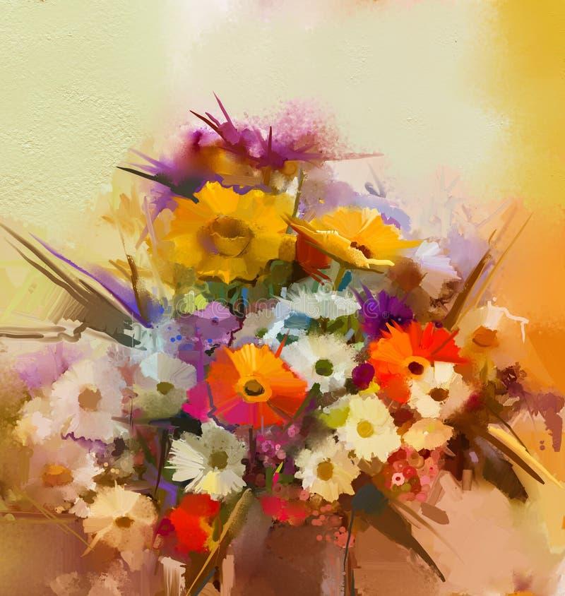 Flores da pintura a óleo no vaso Entregue o ramalhete da vida da pintura ainda do girassol branco, amarelo e alaranjado, Gerbera, ilustração stock