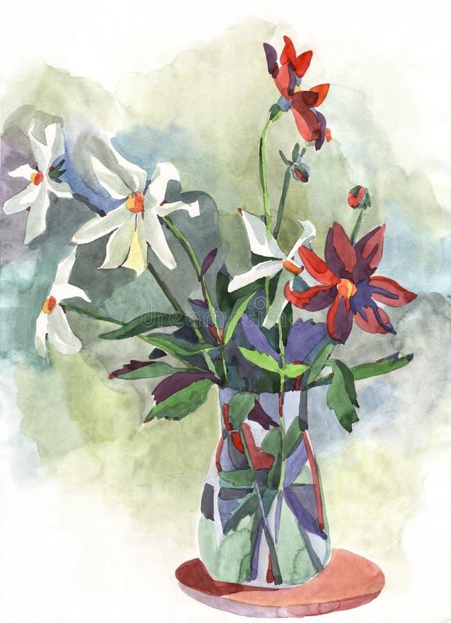 Flores da pintura ilustração stock